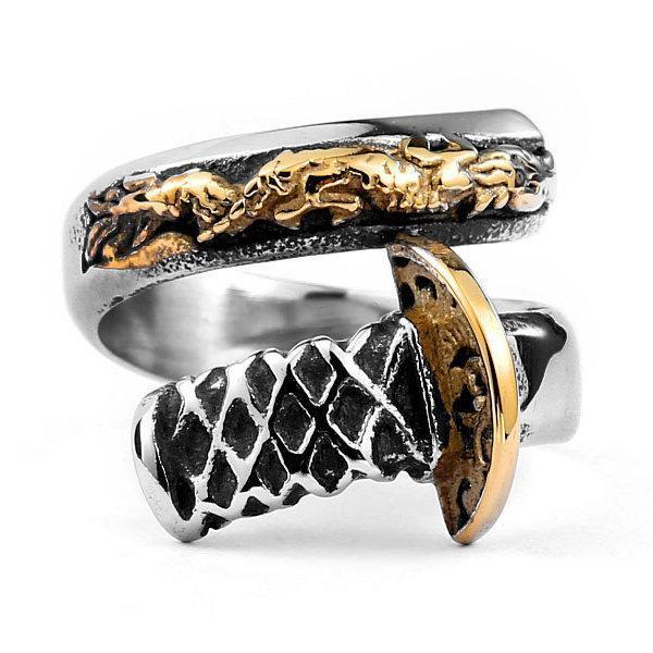 Katana Dragon Ring Steel