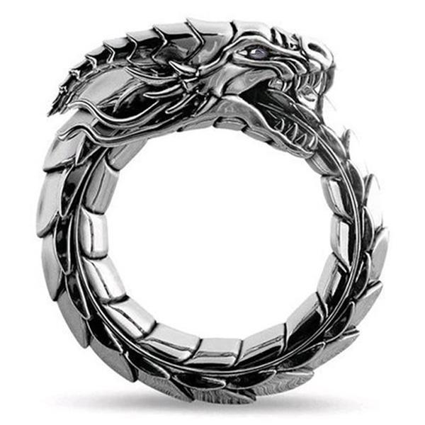 Dragon Ring Ouroboros Serpet Steel