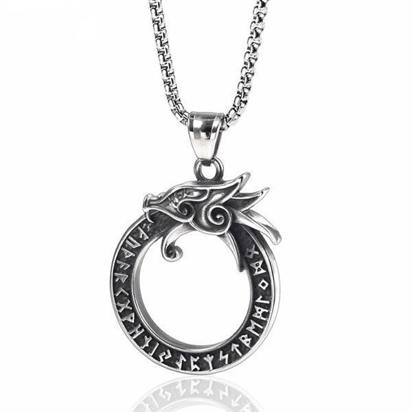 Viking Dragon Necklace Steel