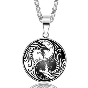 Ying Yang Dragon Steel Necklace
