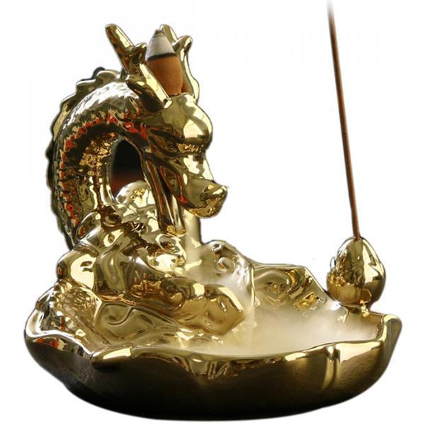 Japanese Dragon Incense burner golden