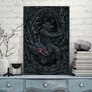 Dragon Samurai Painting Wall Art