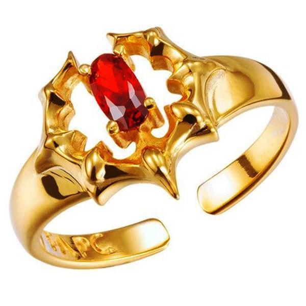 Dragon Ring Golden Red Stone Zirconium