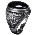 Dragon Ring Black Garnet Sterling Silver