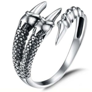 Dragon Ring White Claw Sterling Silver