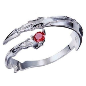 Dragon Ring Red Blade Sterling Silver