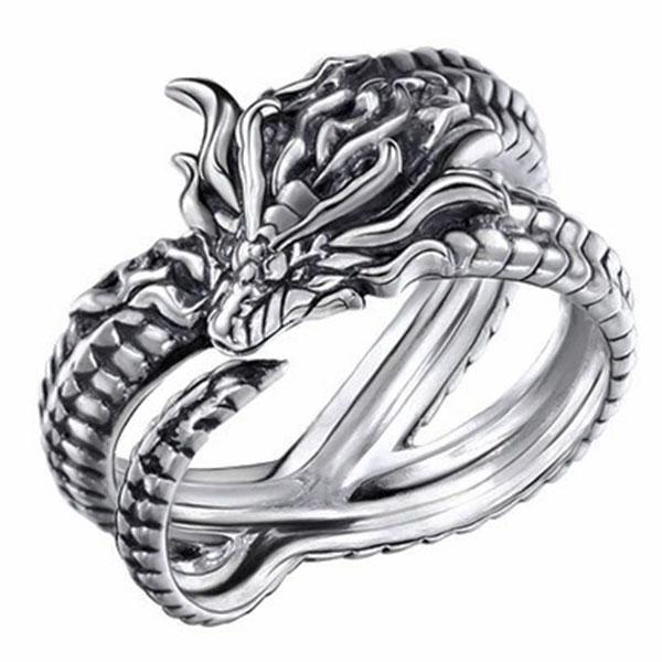 Dragon Ring Medusa Sterling Silver