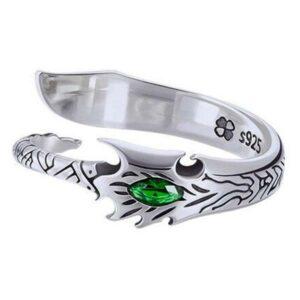 Dragon Ring Green Eye Sterling Silver