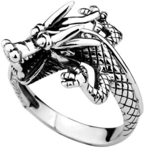 Dragon Ring Lucky Charm Sterling Silver