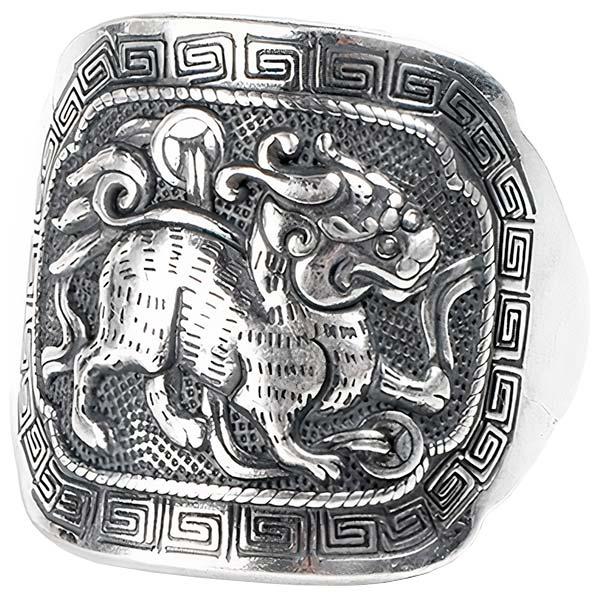 Dragon Ring Qilin 990 Pure Silver