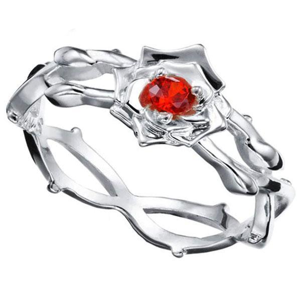 Dragon Ring Pink Flower Sterling Silver