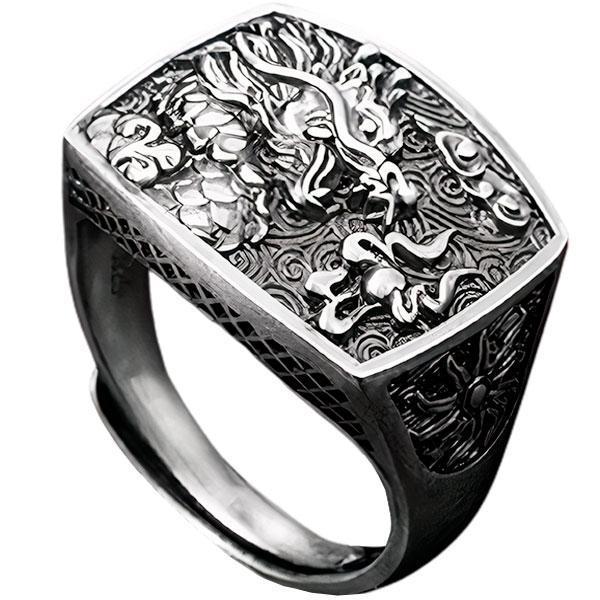 Dragon Ring Signet Silver Sterling