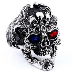 Dragon Ring Blue Eye Skull