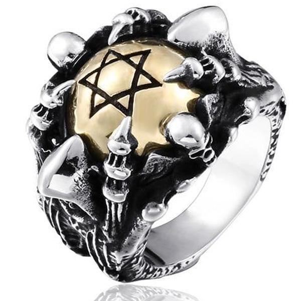 Dragon Ring Steel Pentagram 316L