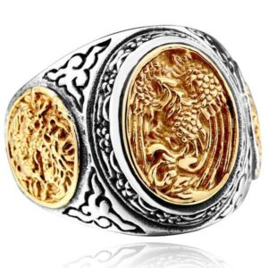 Dragon Ring Phoenix Signet Steel