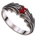 Dragon Ring Red Gem Sterling Silver 925