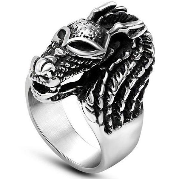Dragon Ring Horse Head Stainless Steel