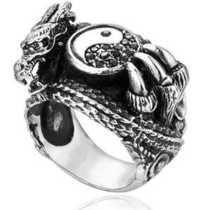 Dragon Ring Yin Yang Stainless Steel