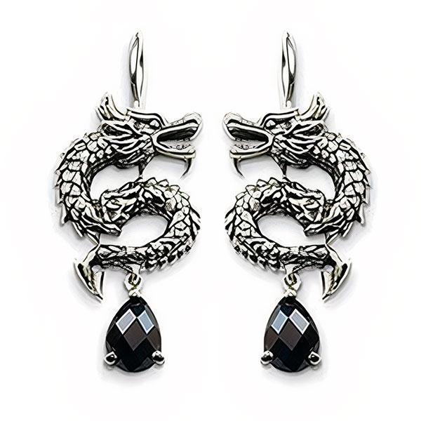 Dragon Earrings Silver Sterling 925