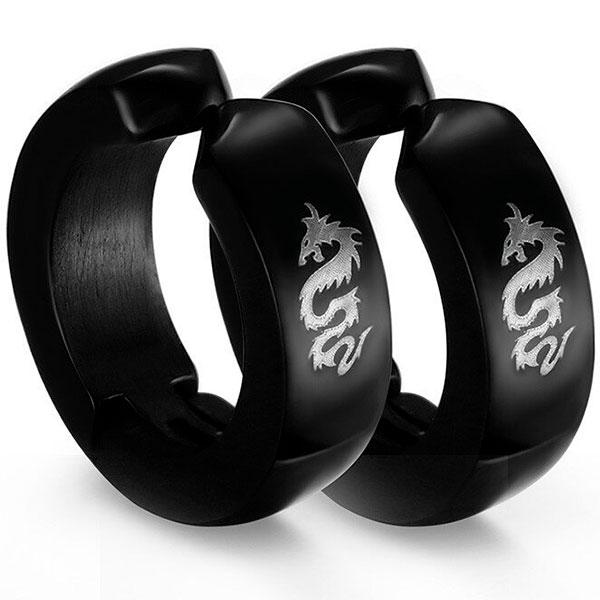 Dragon Earrings Black Classic Jewelry