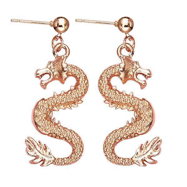 Dragon Earrings Gold Zinc 9gr