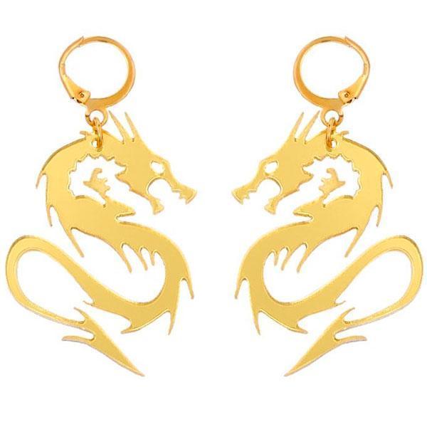 Dragon Earrings Animal Zinc 3gr