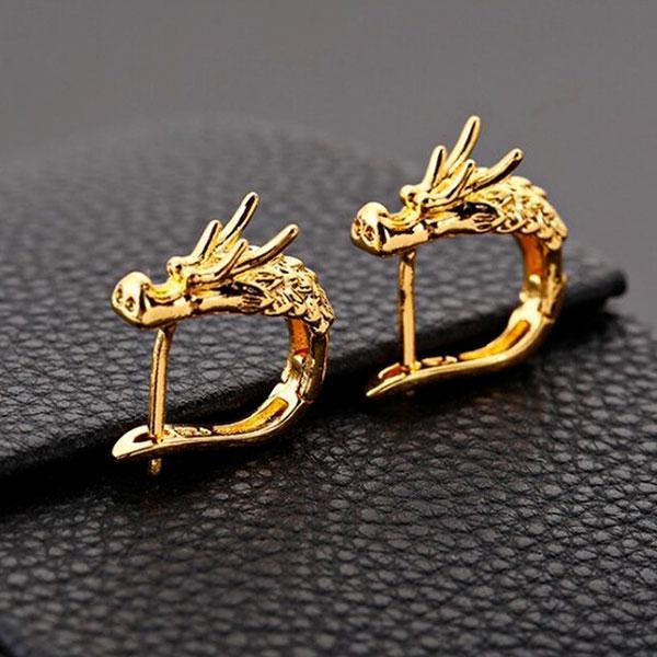 Boucles d'oreilles dragon demi créoles