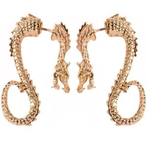 Dragon Earrings Seahorse Golden Zinc