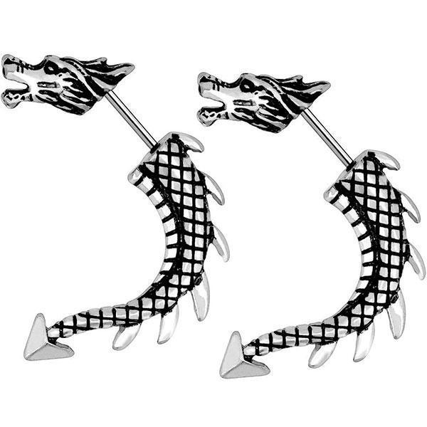 Dragon Earrings Punk Stainless Steel