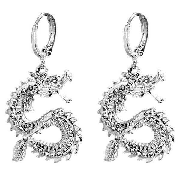 Dragon Earrings Vintage Zinc 11g
