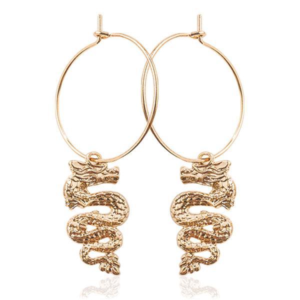 Dragon Earrings Dangling Zinc Golden