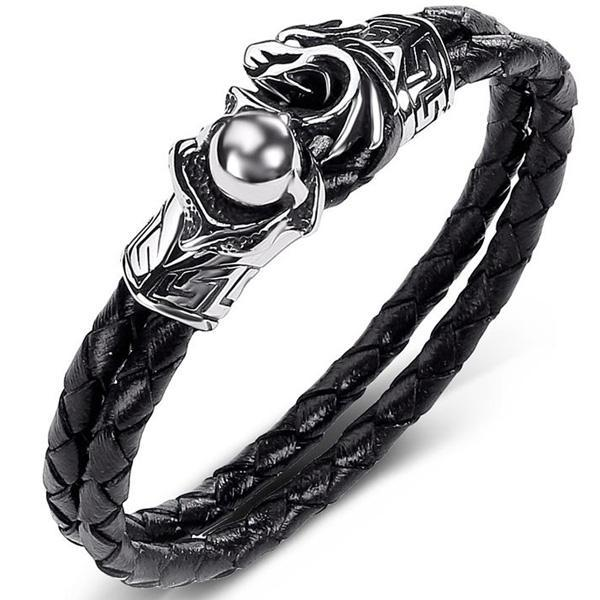 Dragon Bracelet Black Leather Stainless Steel