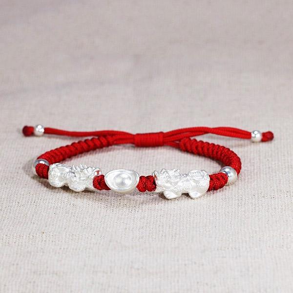 Dragon Bracelet Double Pixiu Silver