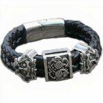 Dragon Bracelet Celtic Pattern Stainless Steel Leather
