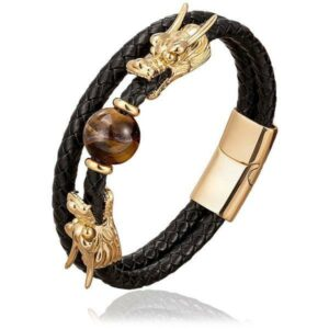 Dragon Bracelet Natural Stones With Leather