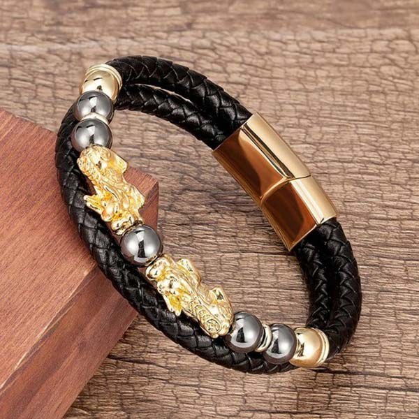 Dragon Bracelet Lucky Charm Pixiu Leather