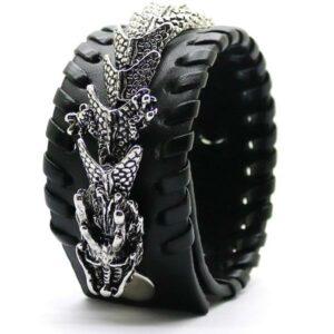 Dragon Bracelet Punk Leather Zinc