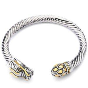 Dragon Bracelet Man Torque Steel