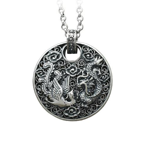 Chinese Dragon Necklace Silver