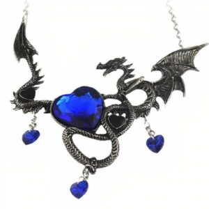 Dragon Necklace Crystal Heart Steel
