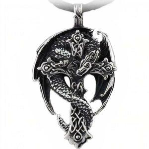 Dragon Necklace Medieval Cross Steel