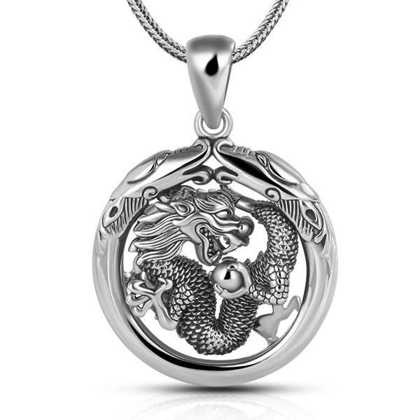 Dragon Necklace Antique Sterling Silver