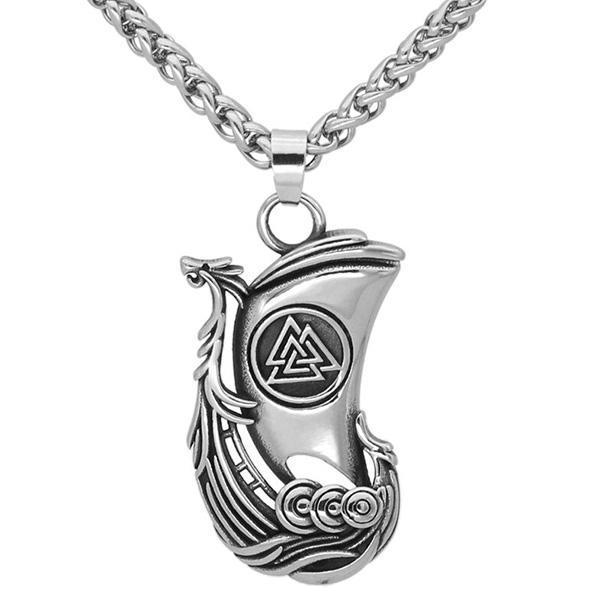 Dragon Necklace Viking Ship Steel