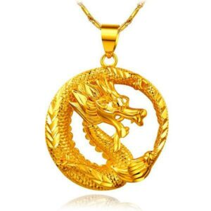 Dragon Necklace Golden Chinese 18K Gold