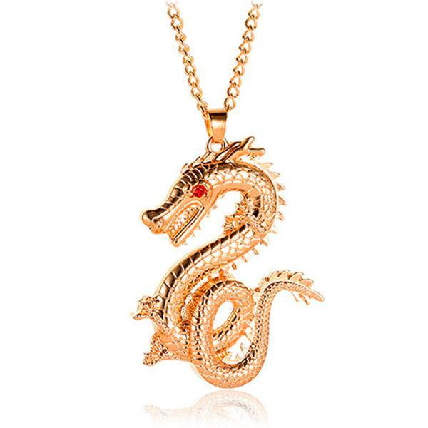 Dragon Necklace Golden Plated Unisex
