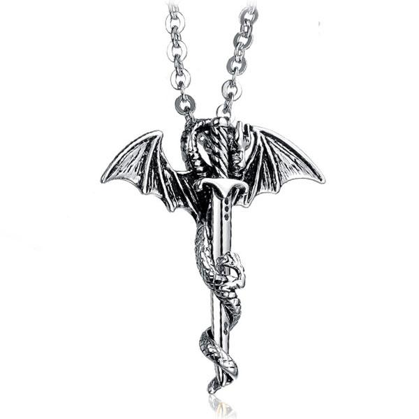 Collier dragon epee medievale