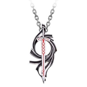 Dragon Necklace Red Sword Sterling Silver