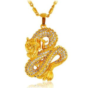 Dragon Necklace Golden Japanese 18K Gold