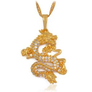Dragon Necklace Golden Cubic Zircon
