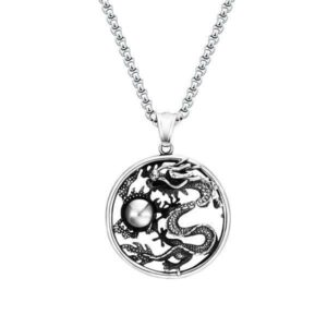 Oriental Dragon Necklace Steel